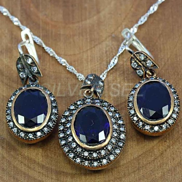 925 sterling silver set hurrem sultan oval sapphire blue turkish handmade - T012