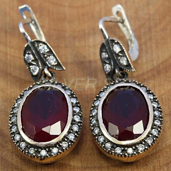 925 sterling silver earrings authentic ruby red kosem sultan jewelry turkish handmade - T013