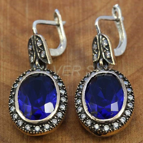 925 sterling silver earrings authentic sapphire blue kosem sultan jewelry turkish handmade - T014
