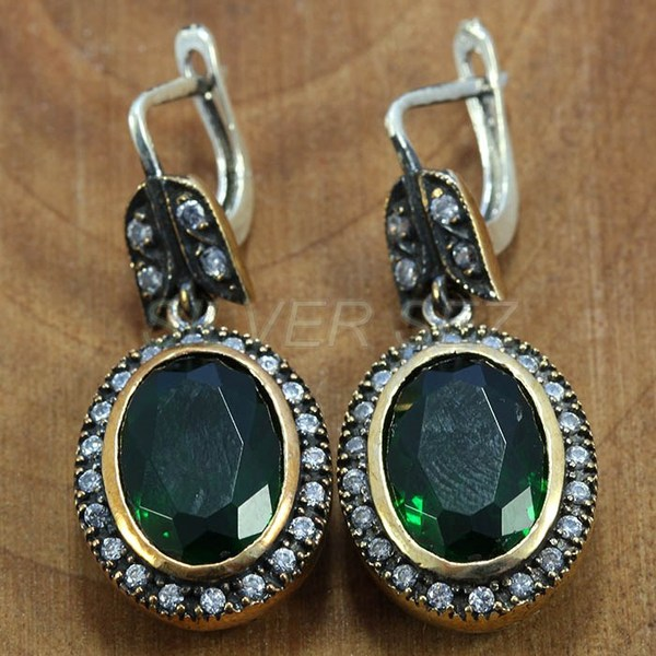 925 sterling silver earrings authentic emerald green kosem sultan jewelry turkish handmade - T015
