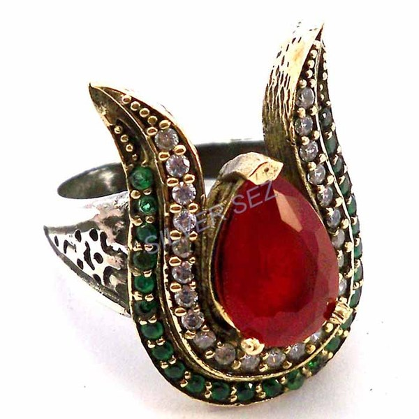 925 sterling silver hatice sultan tulip ring ruby red emerald green - 3328