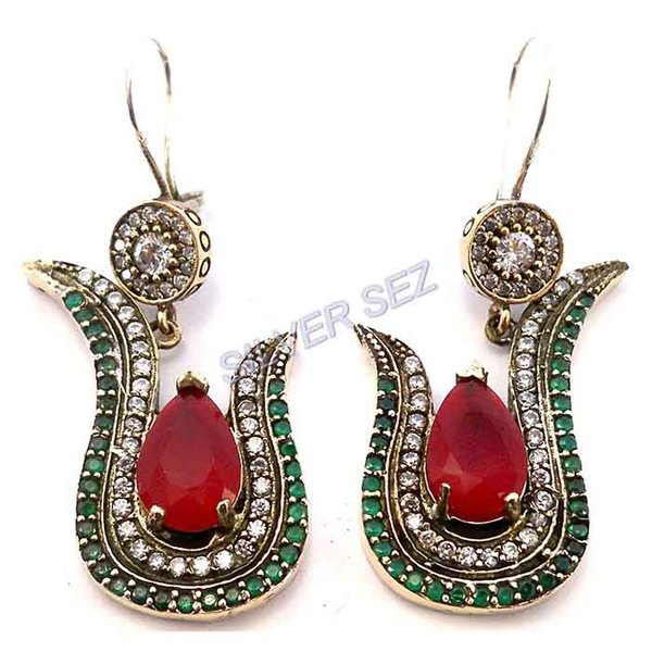 925 sterling silver hatice sultan tulip earrings ruby red emerald green - 3329