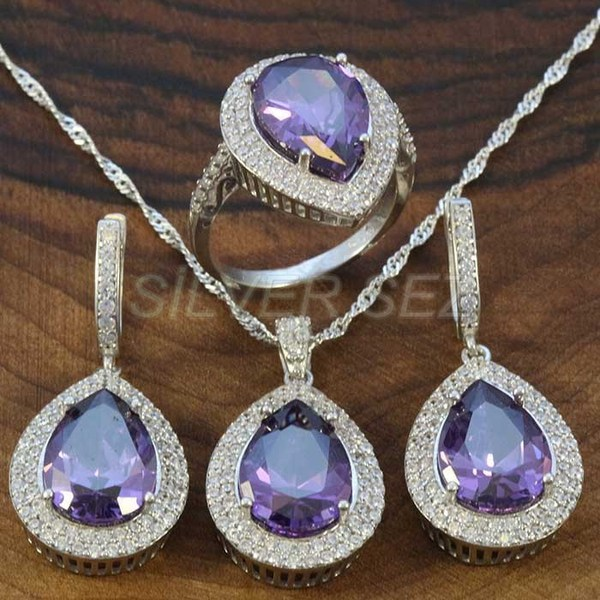 925 sterling silver hurrem kosem sulltan topaz lila drop turkish silver  - K7626