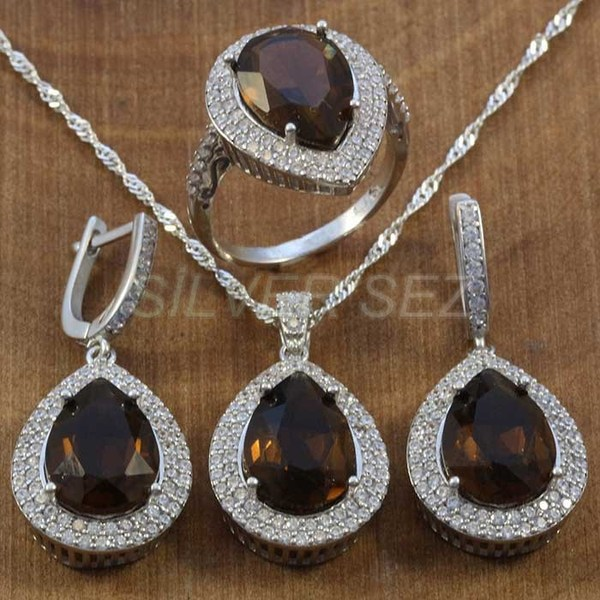925 sterling silver hurrem kosem sulltan topaz brown drop turkish silver  - K7637