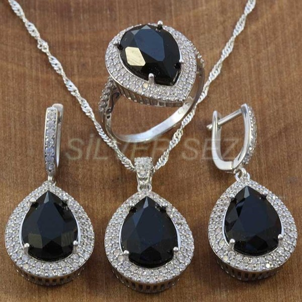 925 sterling silver hurrem kosem sulltan topaz black drop turkish silver  - K7641