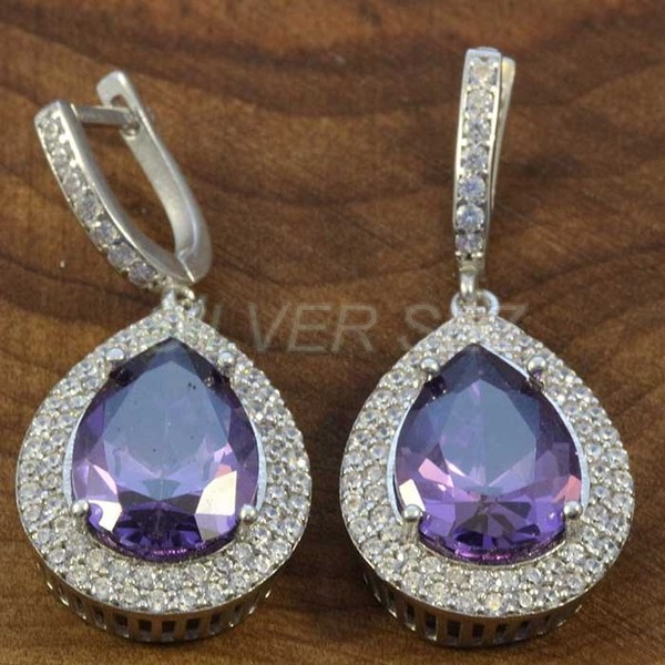 925 sterling silver earrings hurrem kosem sulltan topaz lila drop turkish - K7627