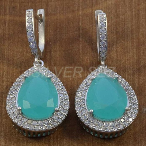 925 sterling silver earrings hurrem kosem sulltan topaz lila drop turkish - K7633