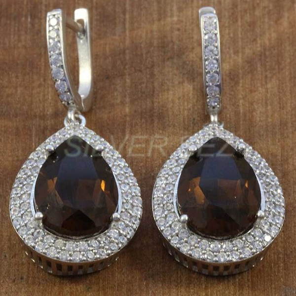 925 sterling silver earrings hurrem kosem sulltan topaz brown drop turkish - K7638