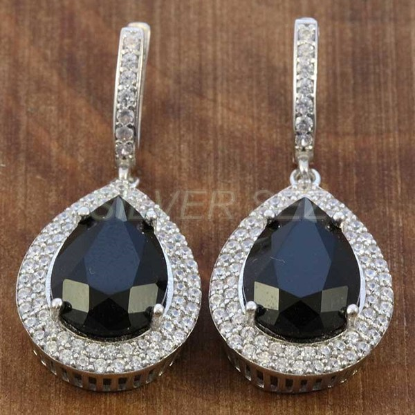 925 sterling silver earrings hurrem kosem sulltan topaz black drop turkish - K7641