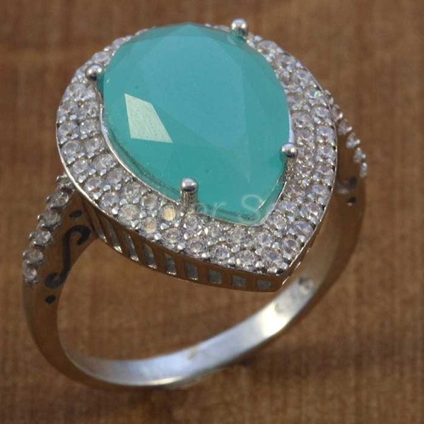 sterling silver ring hurrem kosem sulltan turquoise  drop turkish - Y7630