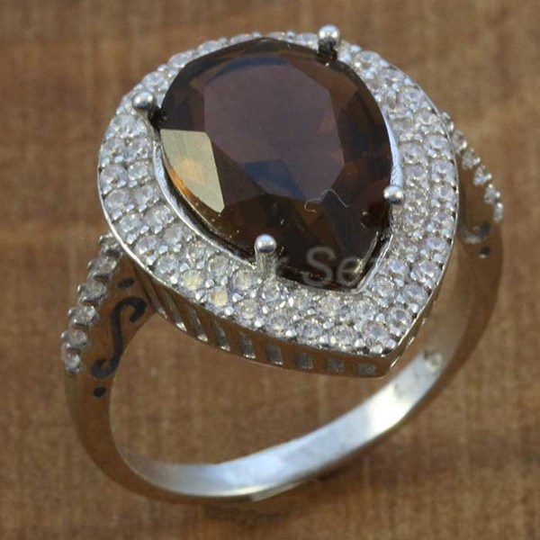 sterling silver ring hurrem kosem sulltan brown  drop turkish - Y7637