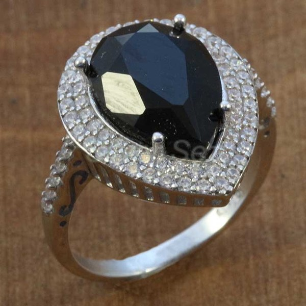 Copy sterling silver ring hurrem kosem sulltan black  drop turkish - Y7641