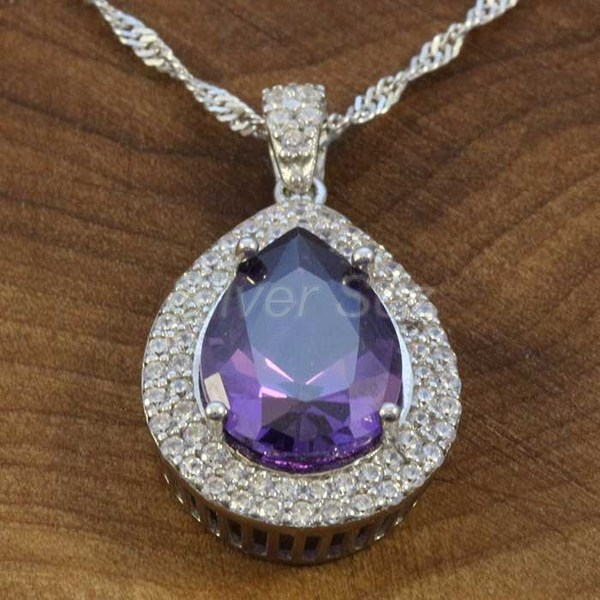 925 sterling silver pendant necklace kosem hurrem sultan topaz lila zircon turkish handmade - KY7626