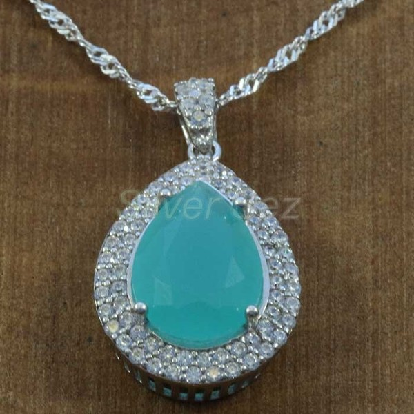 925 sterling silver pendant necklace kosem hurrem sultan topaz turquoise zircon turkish handmade - KY7630