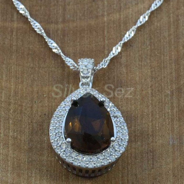 925 sterling silver pendant necklace kosem hurrem sultan topaz brown zircon turkish handmade - KY7637