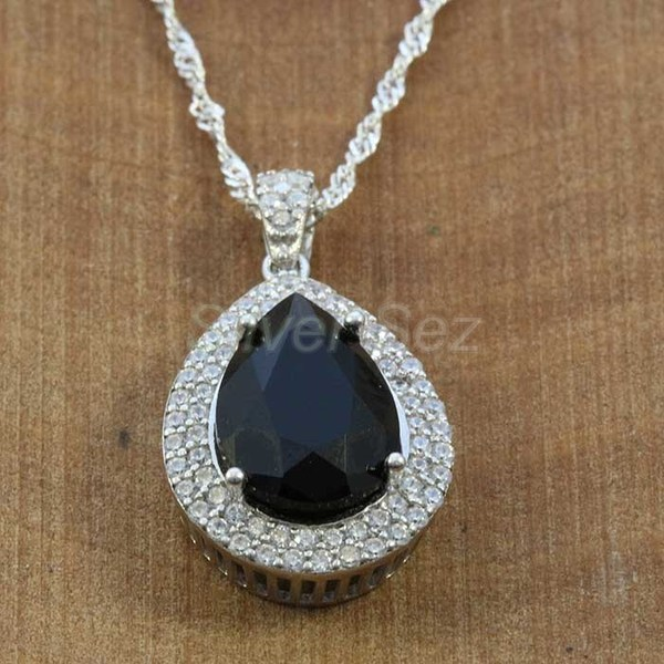 925 sterling silver pendant necklace kosem hurrem sultan topaz black zircon turkish handmade - KY7641
