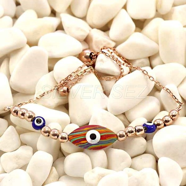 silver bracelet good luck tennis mother of pearl eyes multi colors blue  - N013