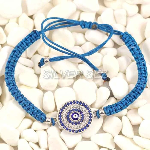 925 silver tassel evil eyes turkish tennis macrame blue   -  B026