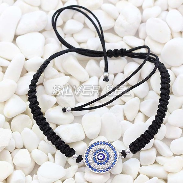 925 silver tassel evil eyes turkish tennis macrame black   -  B027