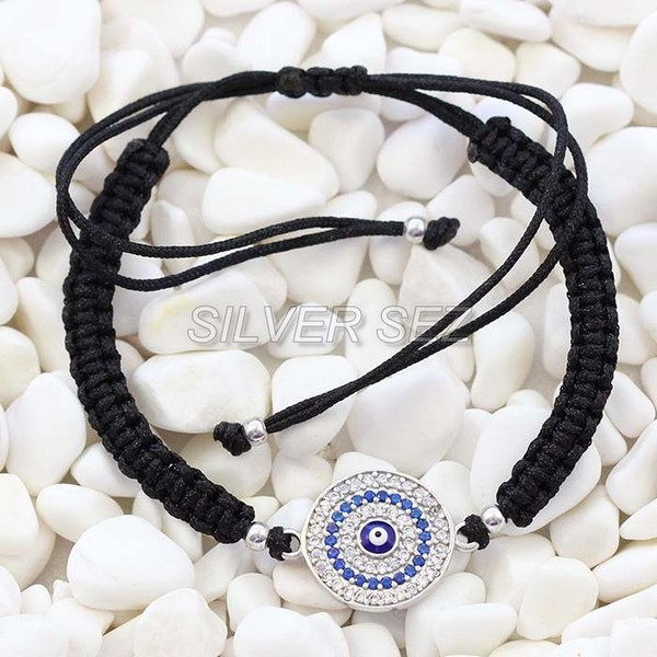 925 silver tassel evil eyes turkish tennis macrame black bohemian  -  B030