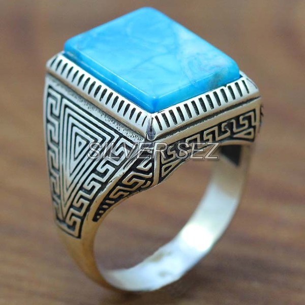 925 silver men ring greek men rectangular turquoise blue  -  7695
