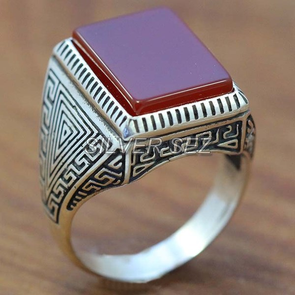 925 silver men ring greek men rectangular agat red -  7694