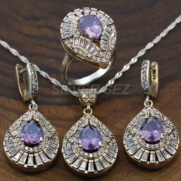 925 silver set zircon baguette drop amethyst purple turkish - A3809