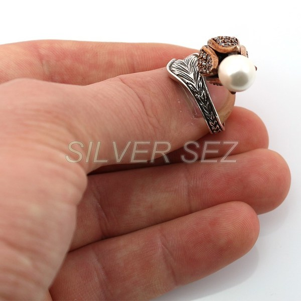 925 sterling silver ring hurrem kosem sultan tulip pearl turkish diamond model