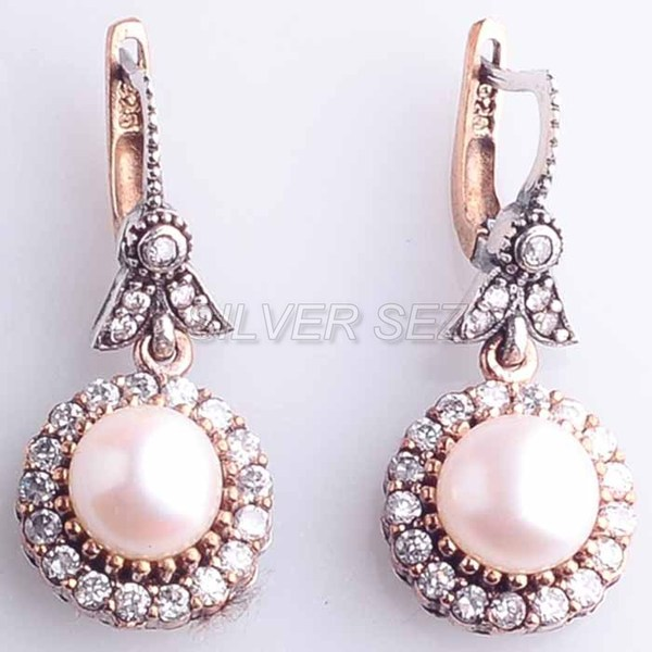 925 sterling silver earrings hurrem kosem sultan round pearl color turkish - 3824