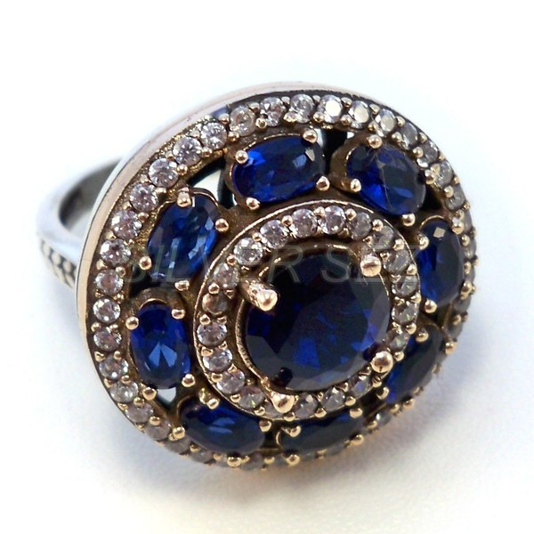 925 sterling silver ring round sapphire blue  turkish jewellery