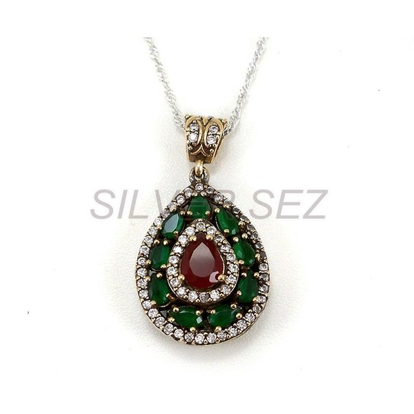 925 sterling silver pendant necklace hurrem kosem sultan drop ruby 925 sterling silver pendant necklace hurrem kosem sultan drop ruby emerald green red turkish handmade jewellery gm kolye elii mcevher kalite silver aloadofball Gallery