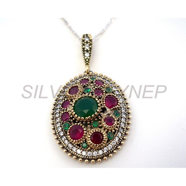 925 sterling silver pendant necklace kosem hurrem sultan emerald 925 sterling silver pendant necklace kosem hurrem sultan emerald green ruby oval turkish gm kolye yakut krmz zmrt yeil osmanl model silver sez aloadofball Gallery