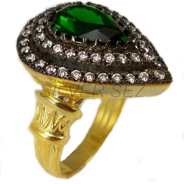 925 Sterling Silver Kösem Sultan Ring Small Emerald Green Gold Plated  Ottoman Turkish Handmade   Silver Sez