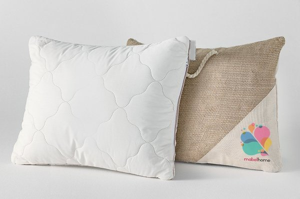 "Mabel Home Wool Kids Toddler Pillow, 14""x18"", Hypoallergenic (Cream) + with Special Gift Bag"