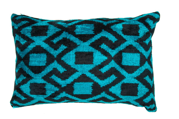 double sided turquoise and black velvet ikat pillow