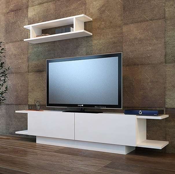 Bride Wall Unit White Glossy Living Room Set Tv Stand With