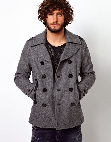 Diesel Wede Grey Wool Coat Double Breasted Jacket