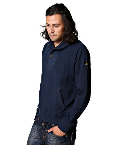 Lyle and Scott Navy Shawl Jumper