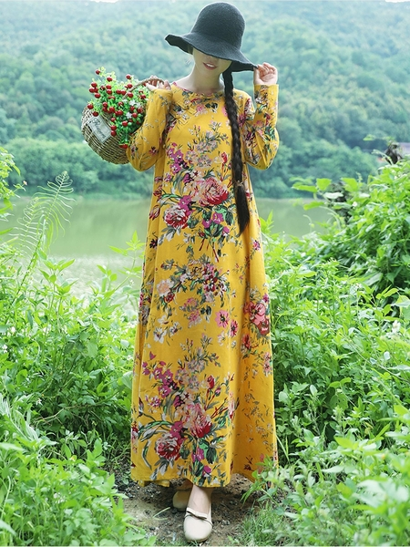 Ezra (Bust 106-110 CM) Loose Floral Maxi Dress