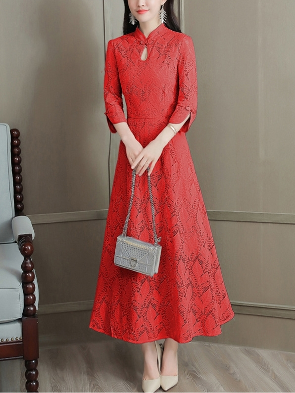 (Bust 88-108 CM) Lace Midi Qipao Dress