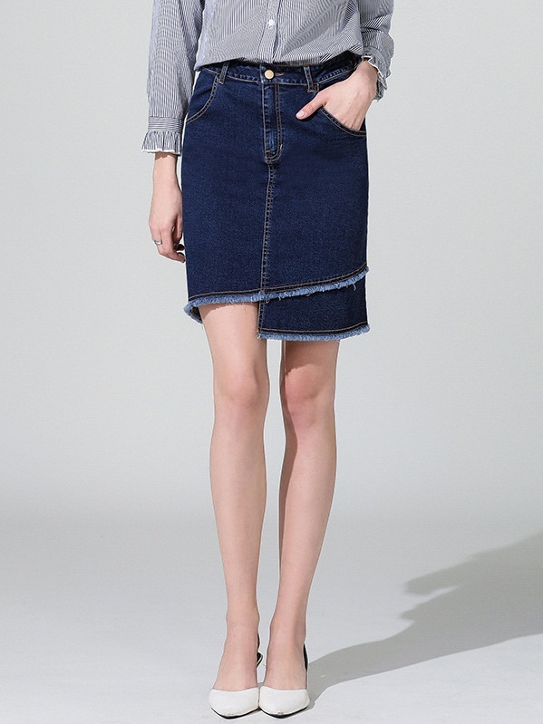 Merey Denim Fray Skirt