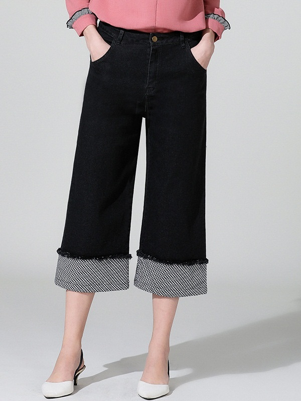Merethe Denim Wide Leg Culottes Capri Pants