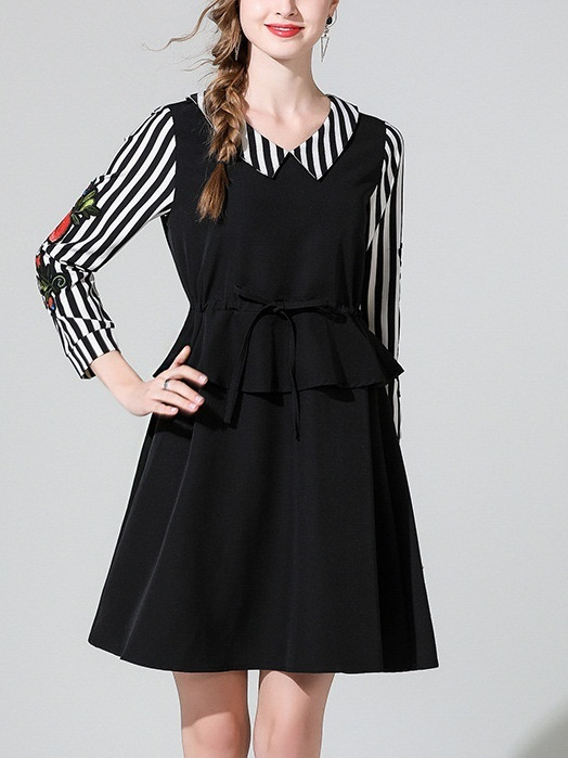 Meredith Stripe Peplum Dress