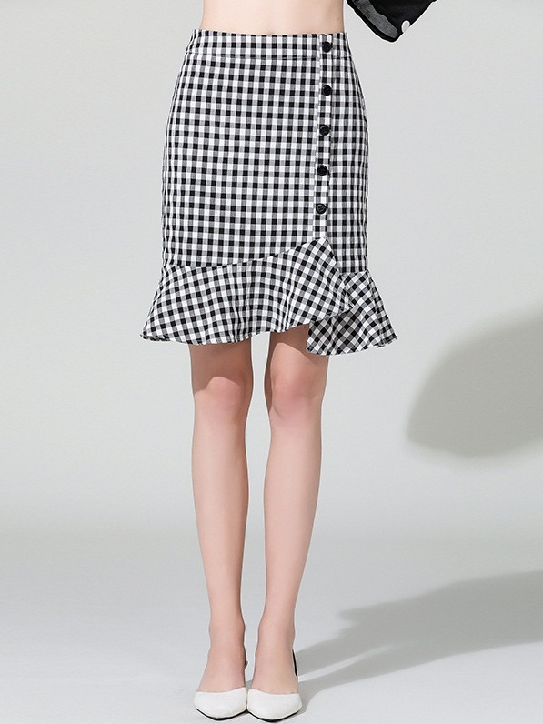 Meranda Gingham Button Checks Skirt