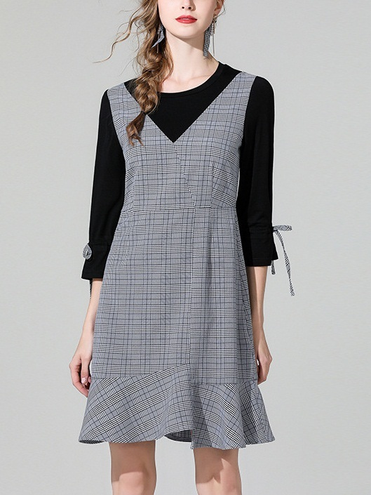 Mendian Ribbon Sleeve Checks Mock 2 Piece Dress