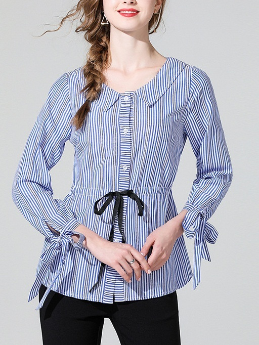 Memphis Stripe Collar Shirt Blouse