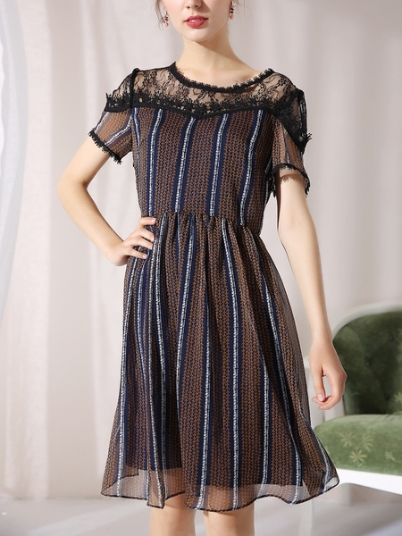 Print Lace Layer Dress