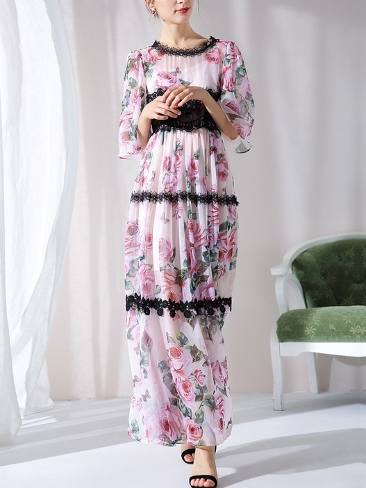 Pink Rose Lace Maxi Dress