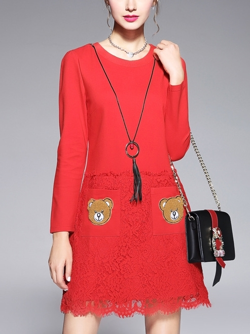 Bear Pocket Lace Red Dress