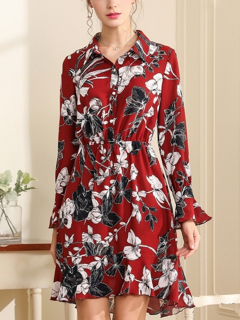 Elena Red Floral Frill Sleeve Shirt Dress